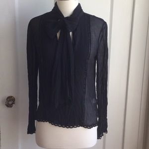 BCBG Sheer Black Lace Top Size XS Like New